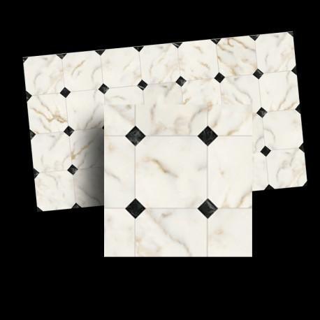 1/24th scale White and Black Diamond Floor Tile 17mm