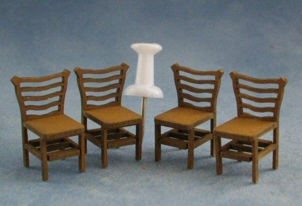 Quarter scale Four Ladderback Chairs Kit