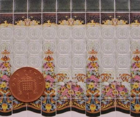 1/24th scale Art Nouveau Floral Wall Tiles
