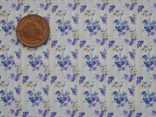 1/24th scale wallpaper with purple floral pattern.
