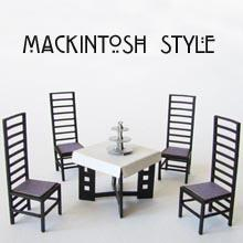 Sowing a finished 1/24th scale Mackintosh Style Tearoom Dining Chairs and Table Kit