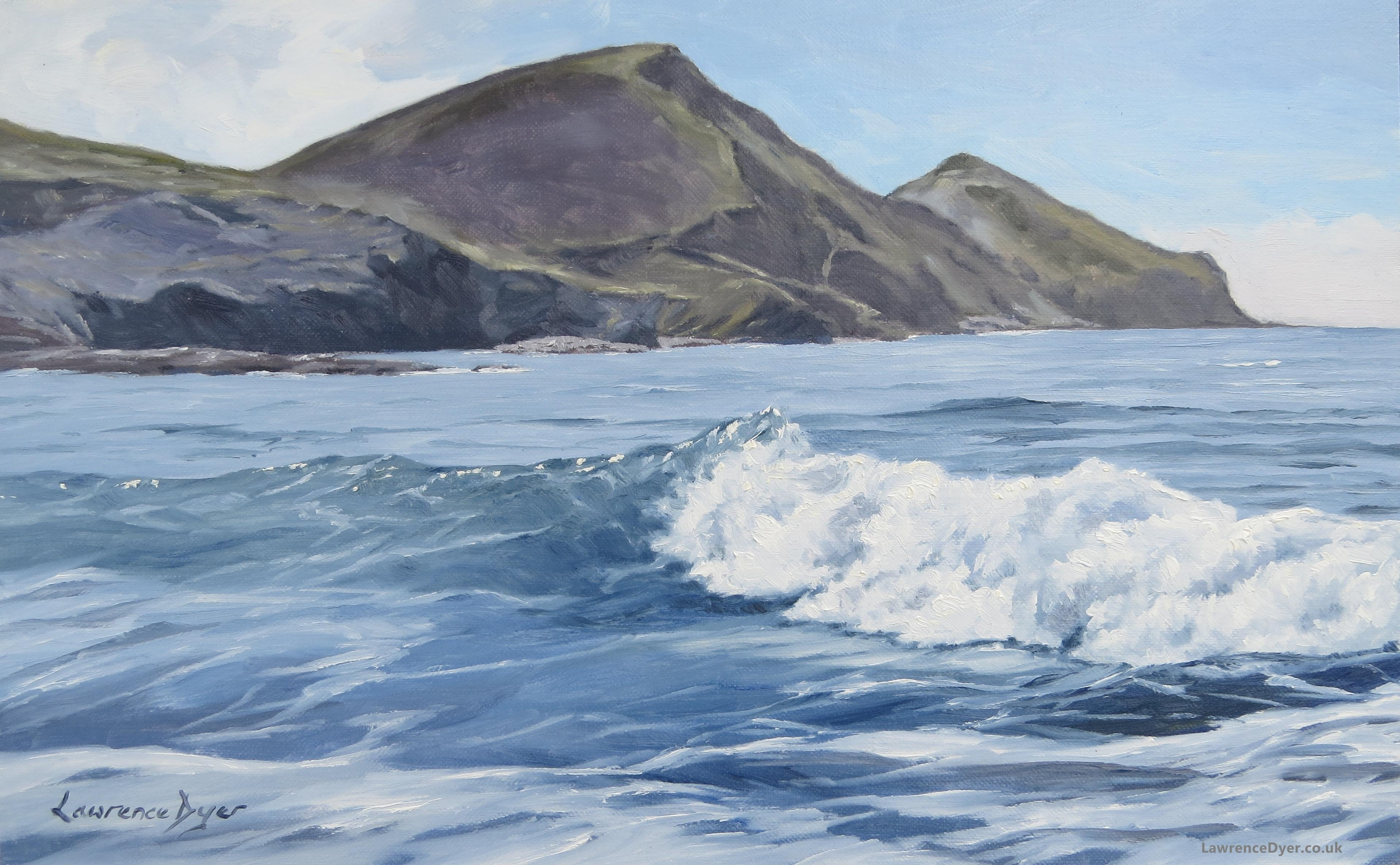 Crackington Haven White Wave Art Print by Lawrence Dyer