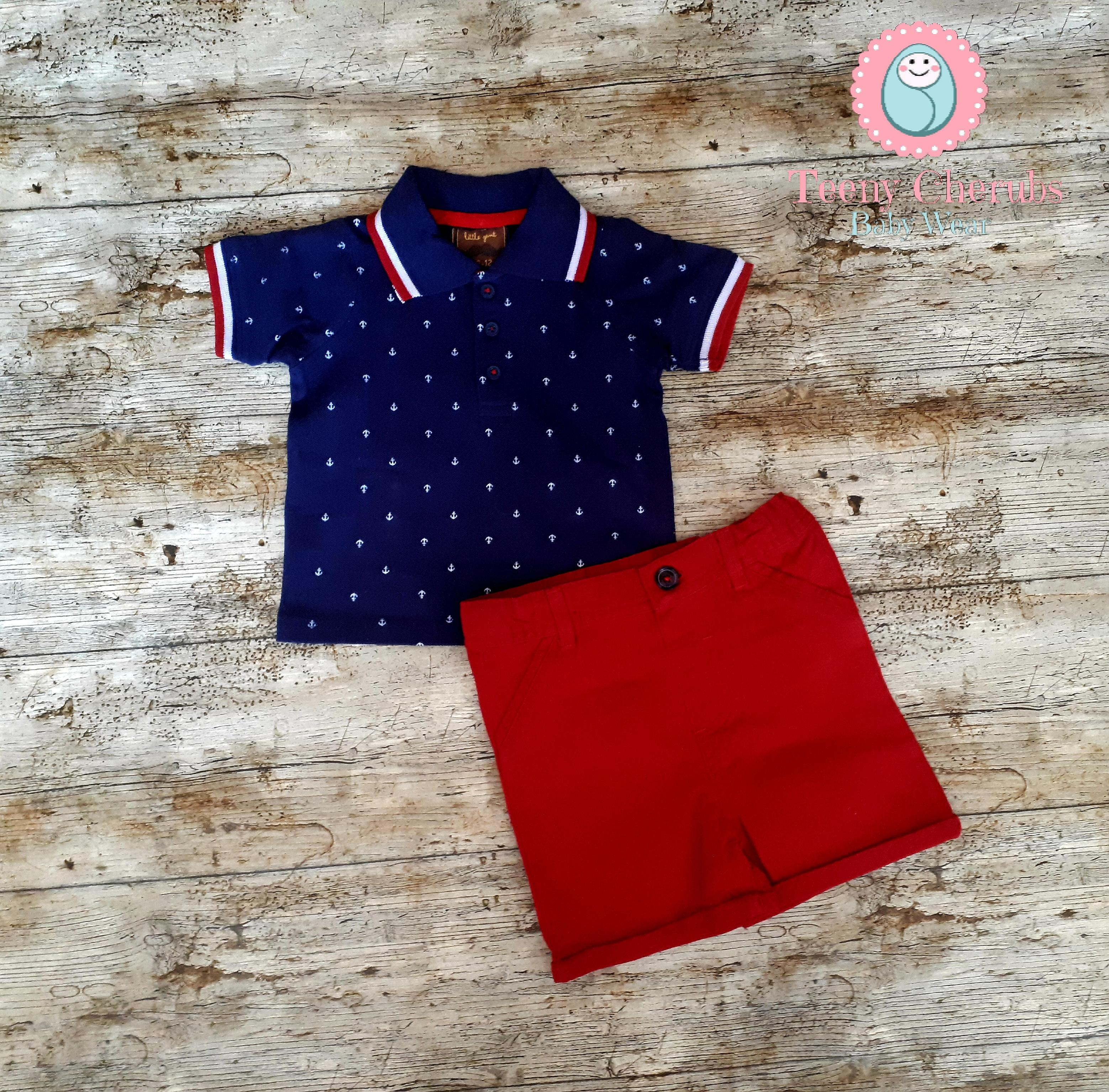 Red Polo Shirt For Toddler Boy Summer Cook