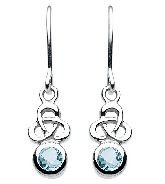 Heritage Sterling Silver and Stone Celtic Trinity Knot Drop Earrings jD5y3
