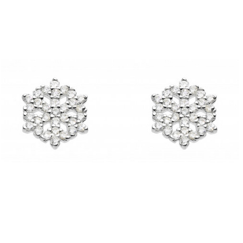 dew cz small snowflake stud earrings