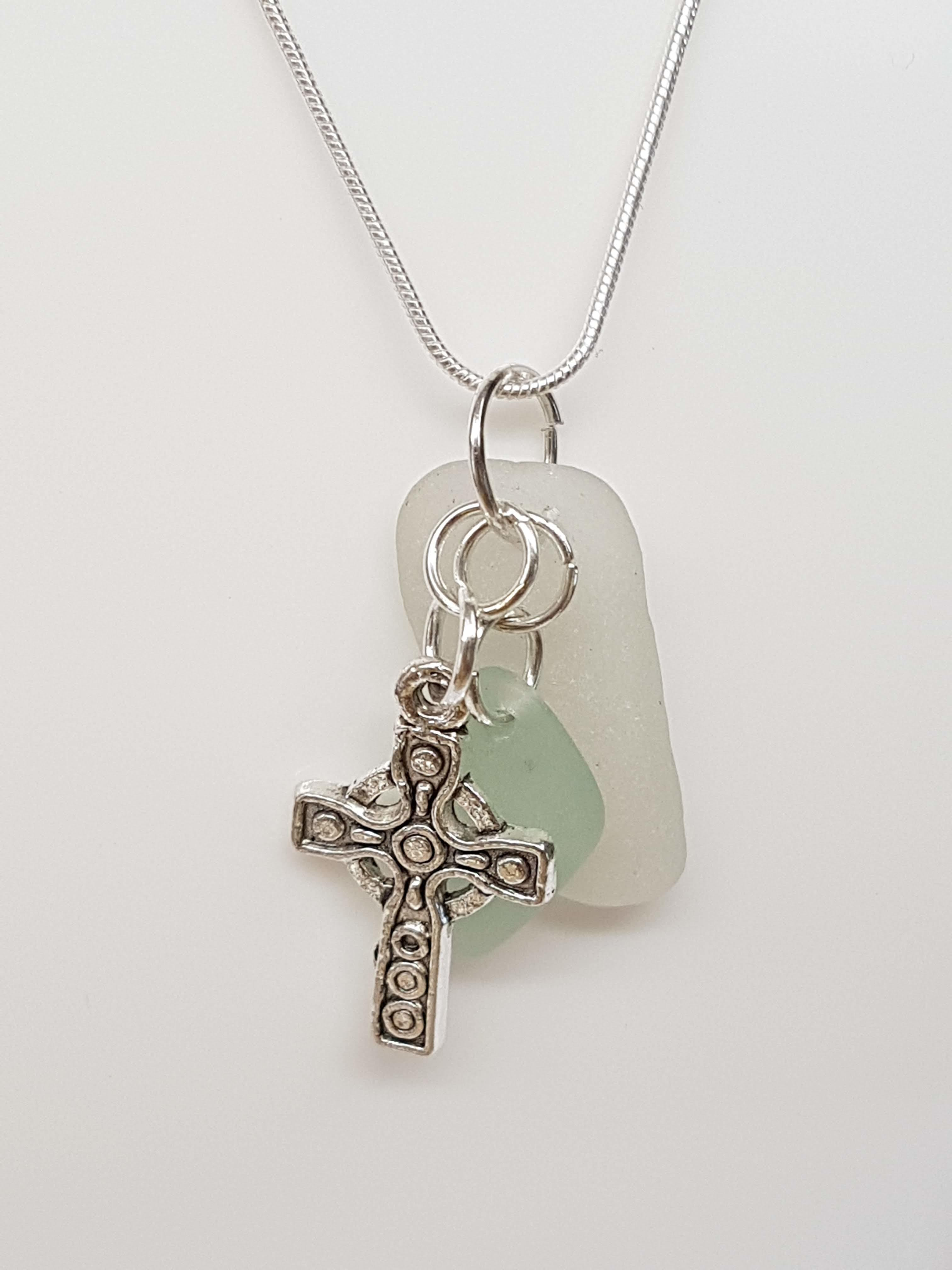 Handmade Cornish Sea Glass /& Celtic Cross Necklace Jewellery