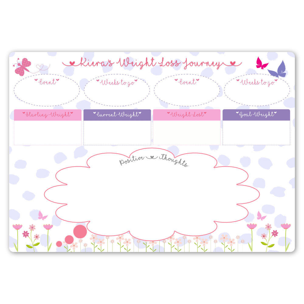 personalised dry wipe whiteboard weight loss tracker purple spotty