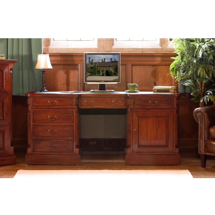 Elegant Mahogany Twin Pedestal Computer Desk