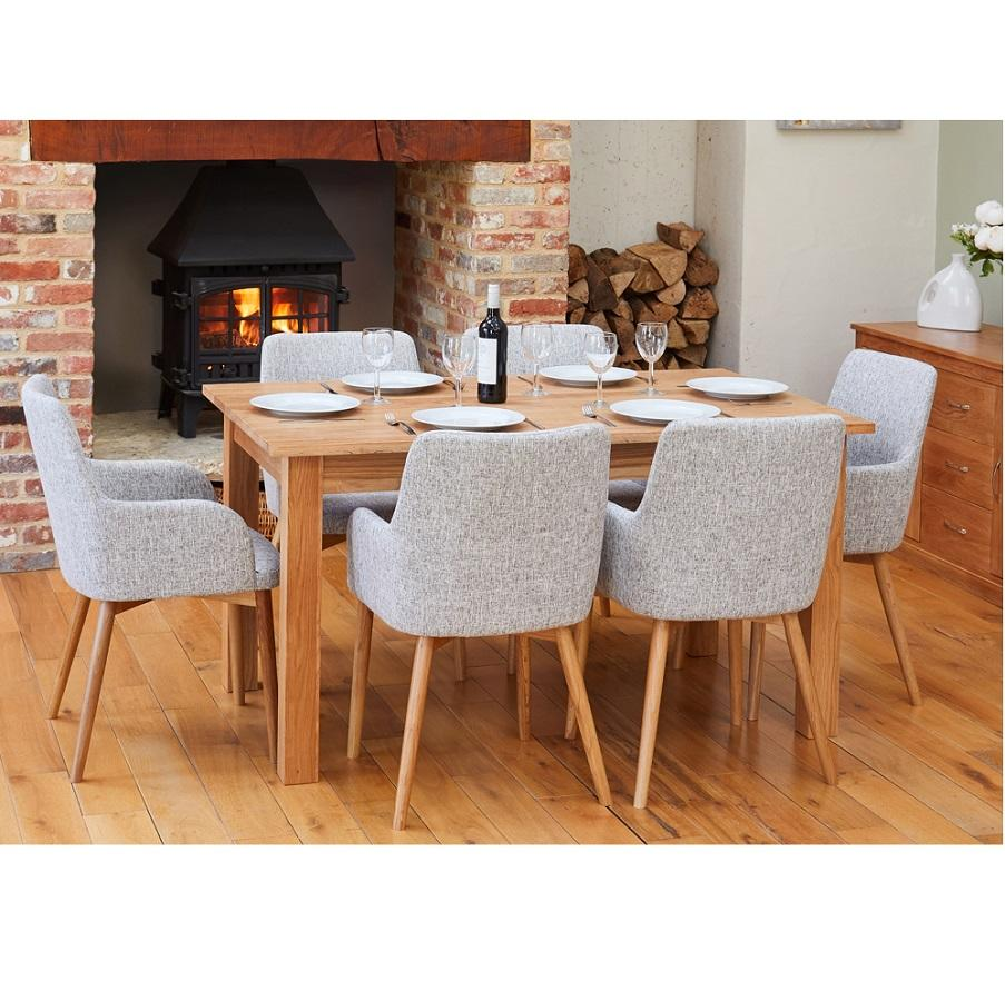 Extending Oak Dining Table With 6 Light Grey Oak Chairs
