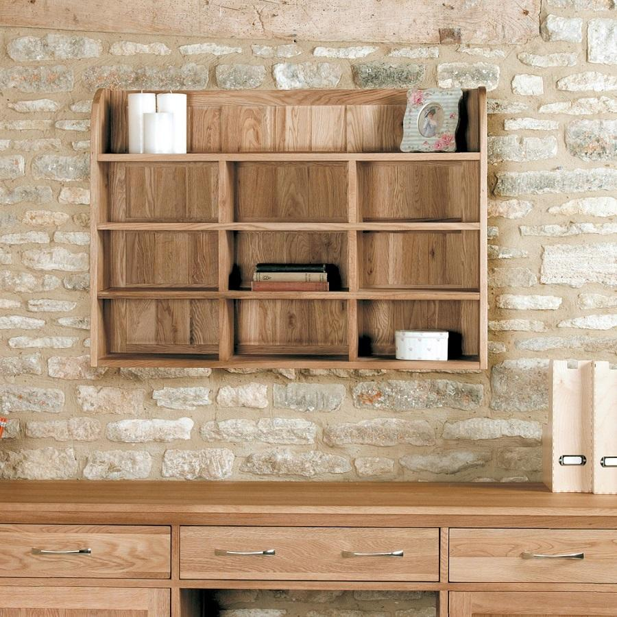 Classic Oak Wall Mounted Shelving Unit
