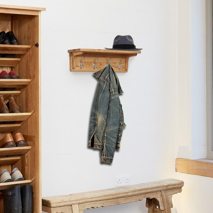 classic oak wall mounted coat rack