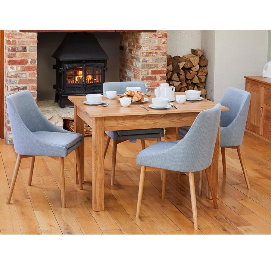 Dining Table With 4 Grey Oak Chairs, Contemporary Oak Dining Room Chairs