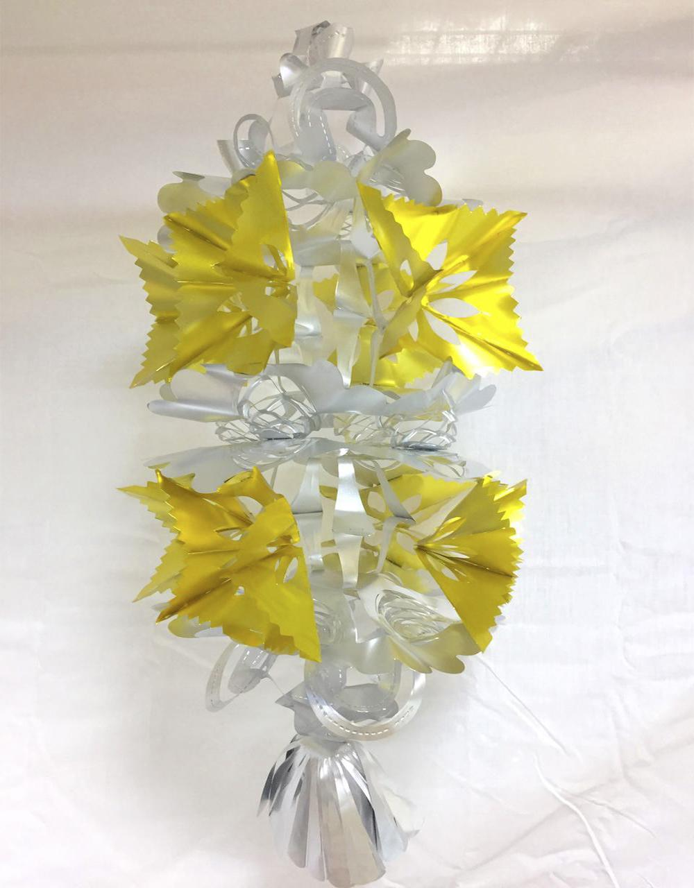 Matt Silver And Gold Two Tier Foil Hanging Lantern Christmas Decorations 21inches 53cm Pack Of 6