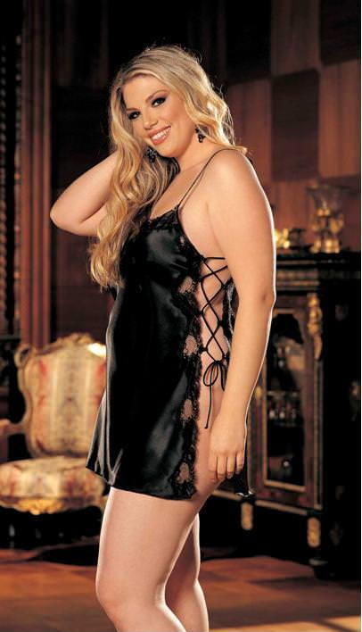 Black Side Tie Babydoll