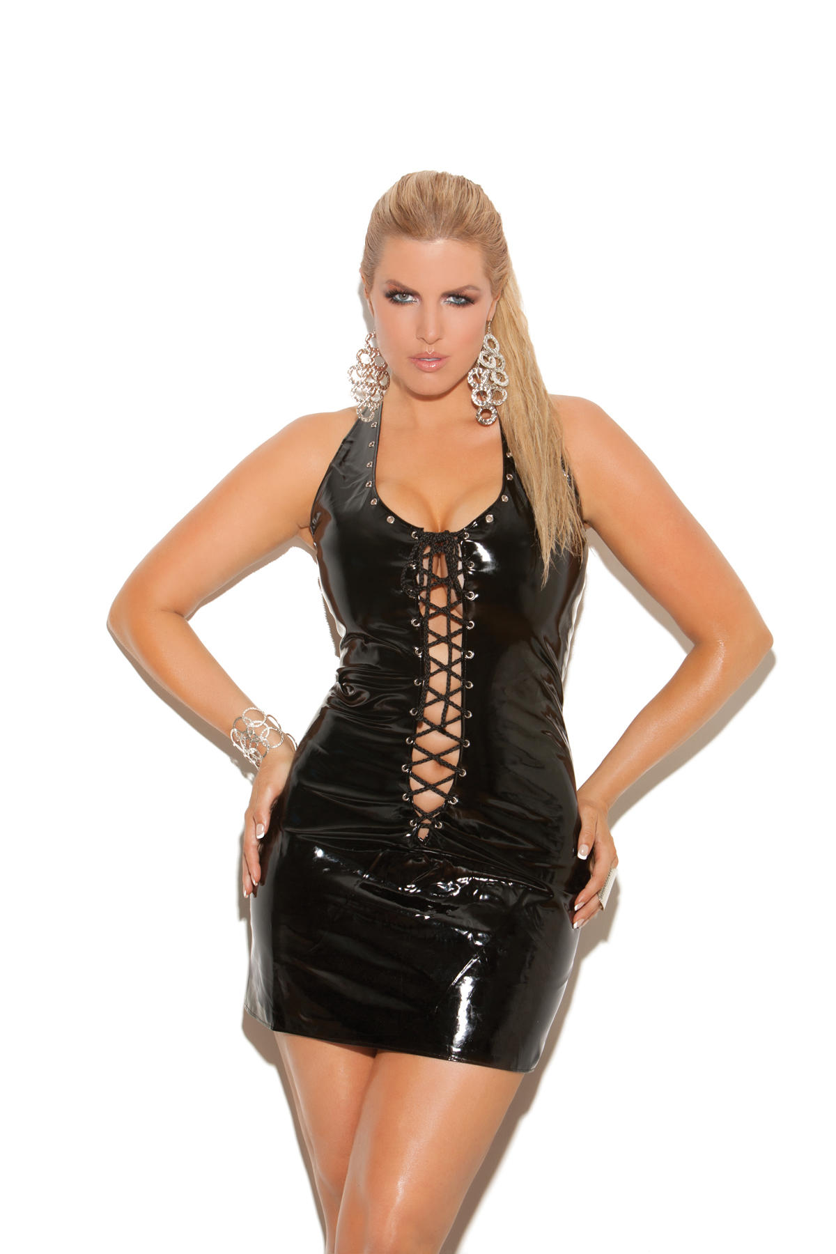 Lace Up PVC Dress