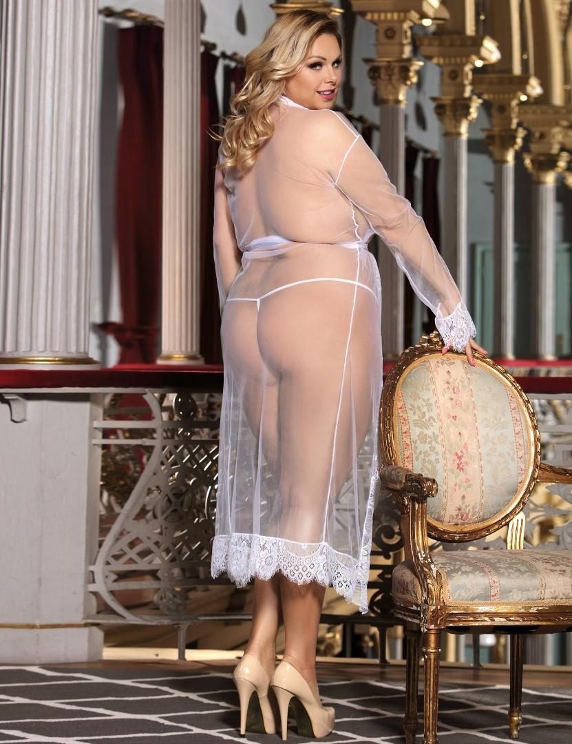 White rear sheer long gown