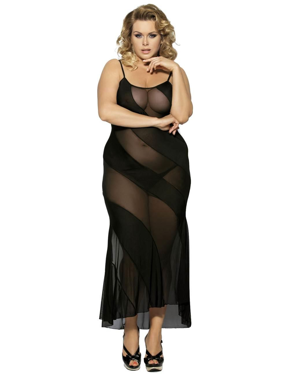 Soiree Long Black Nightgown