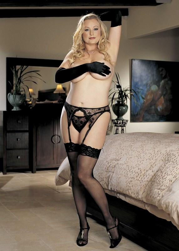 Sheer Black Stockings with Lace Top