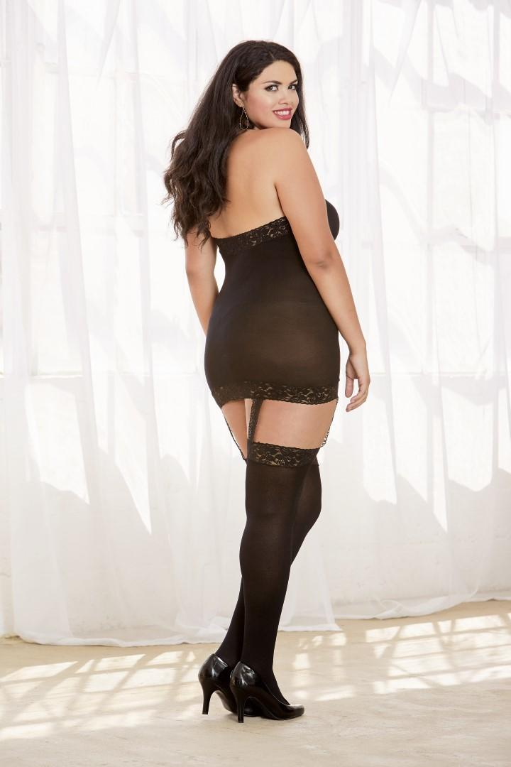 Black dress with garters & stockings