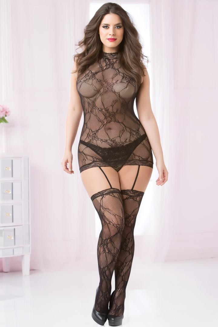 Black lace dress & stockings