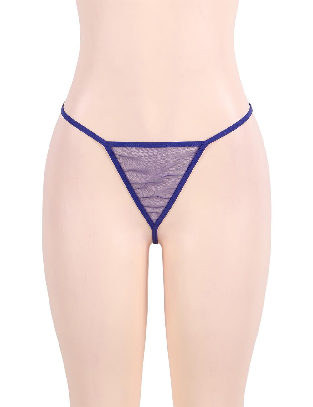 Plus size blue mesh g-string