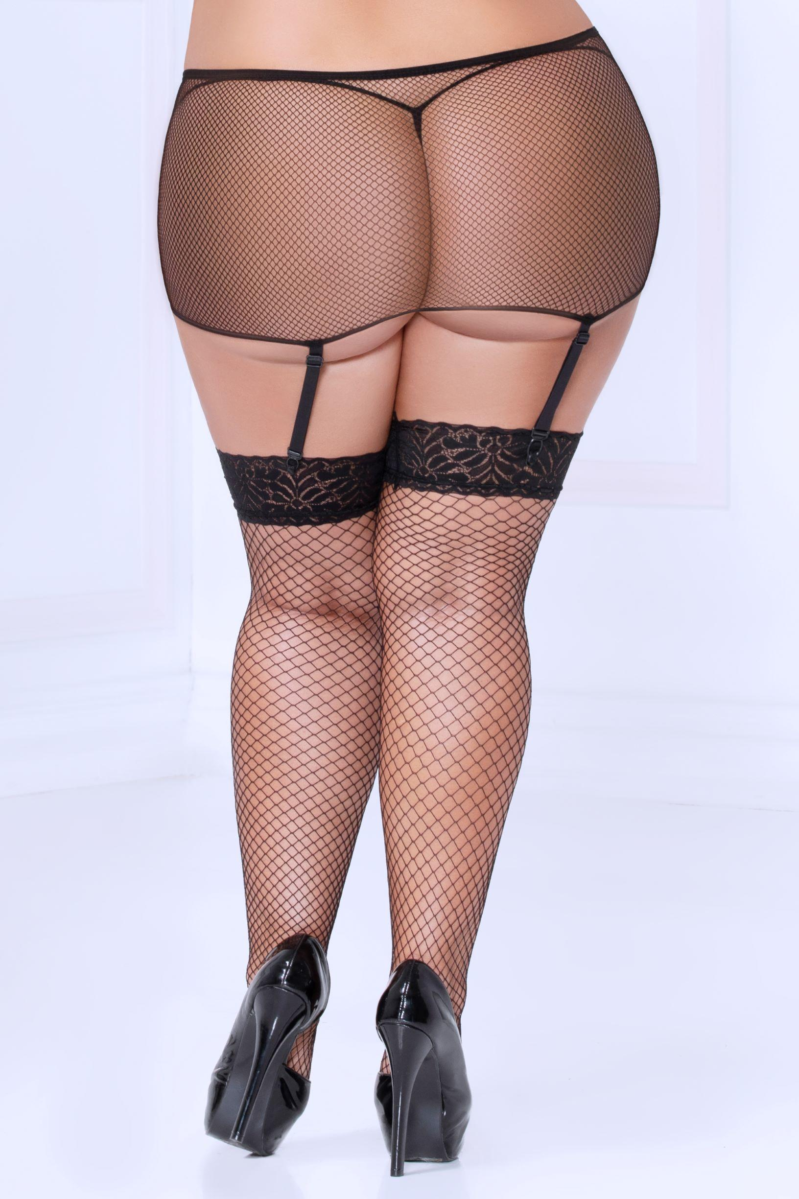 Fishnet Stockings & Garter Belt rear view