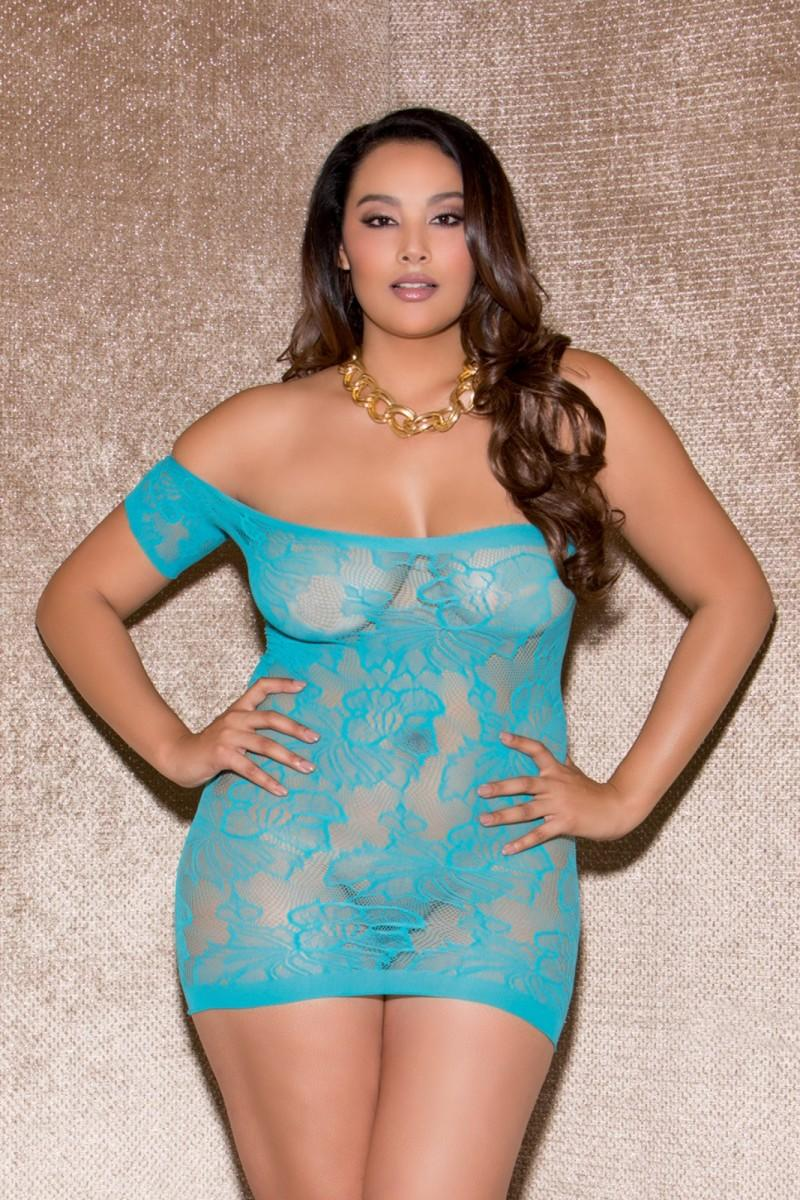 Turquoise Heated Glances Mini Dress
