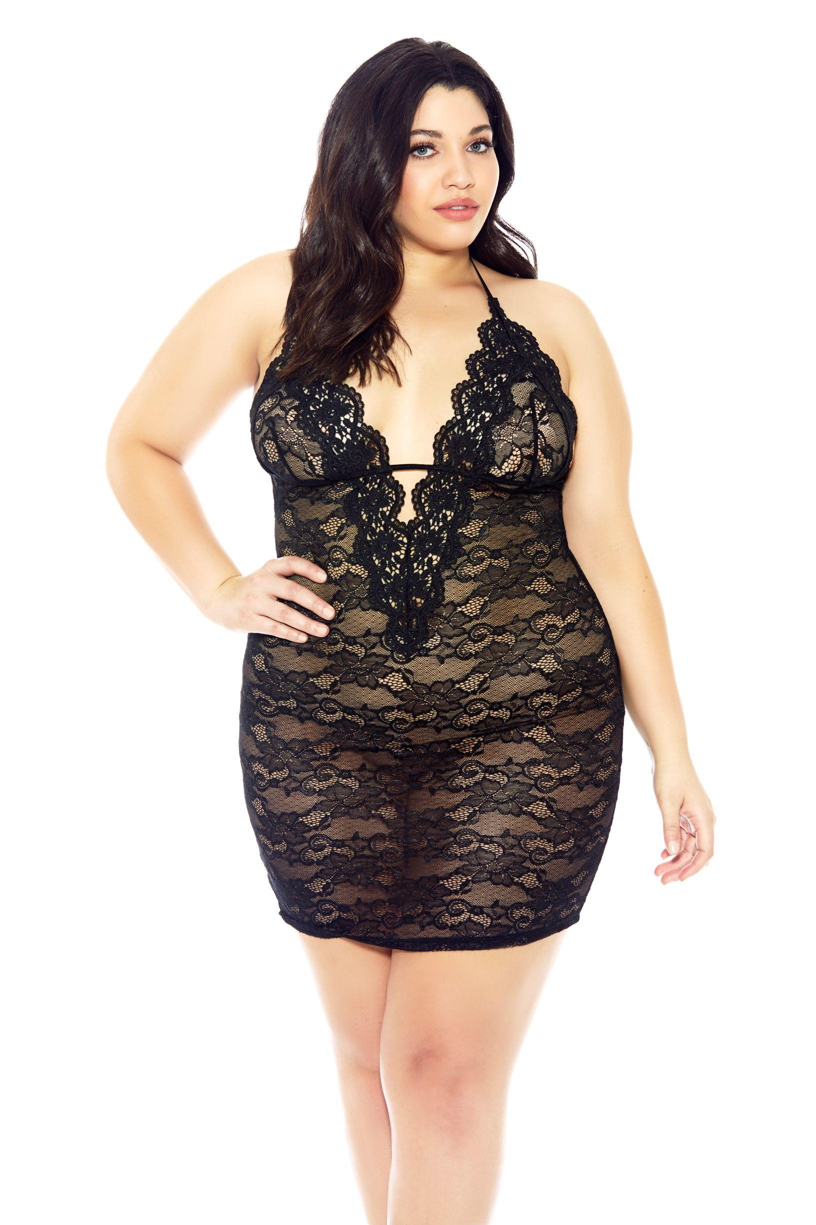 V-Neck Black Chemise Set