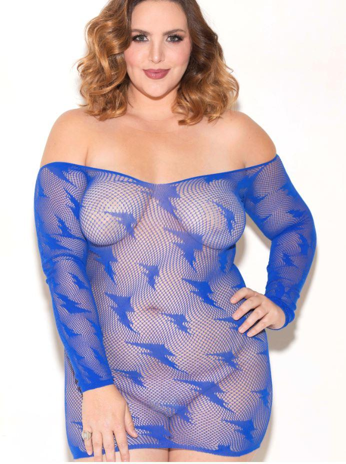 Off the shoulder blue chemise