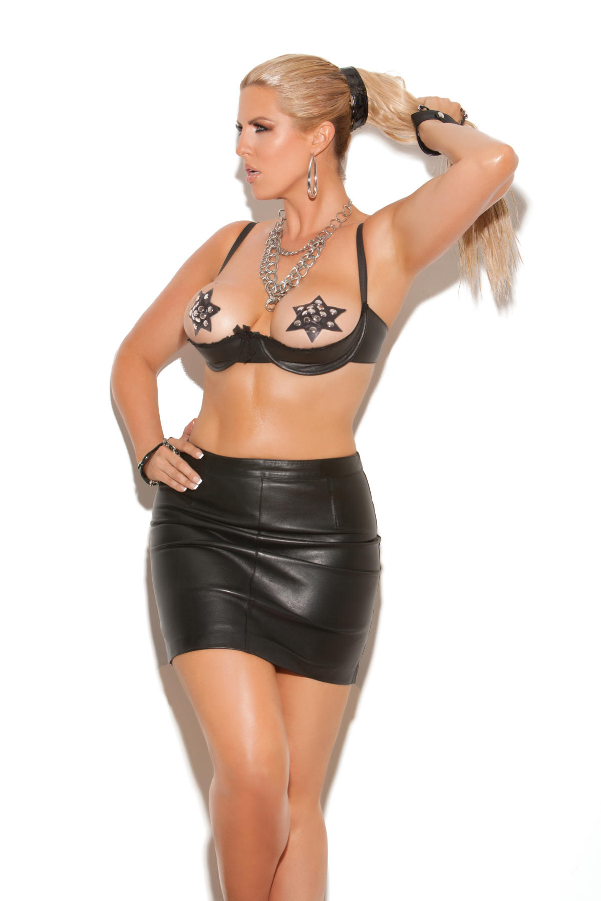 Plus Size Leather Cupless Bra with lace trim from Elegant Moment