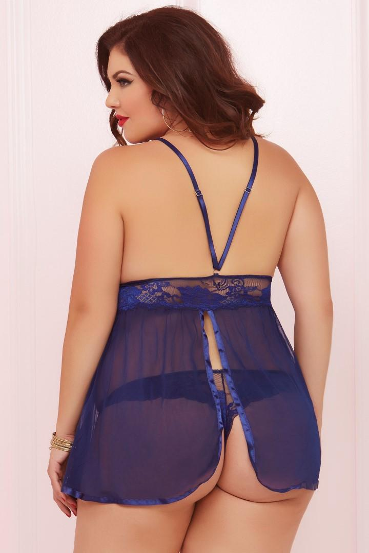 Plus Size Navy Blue Babydoll