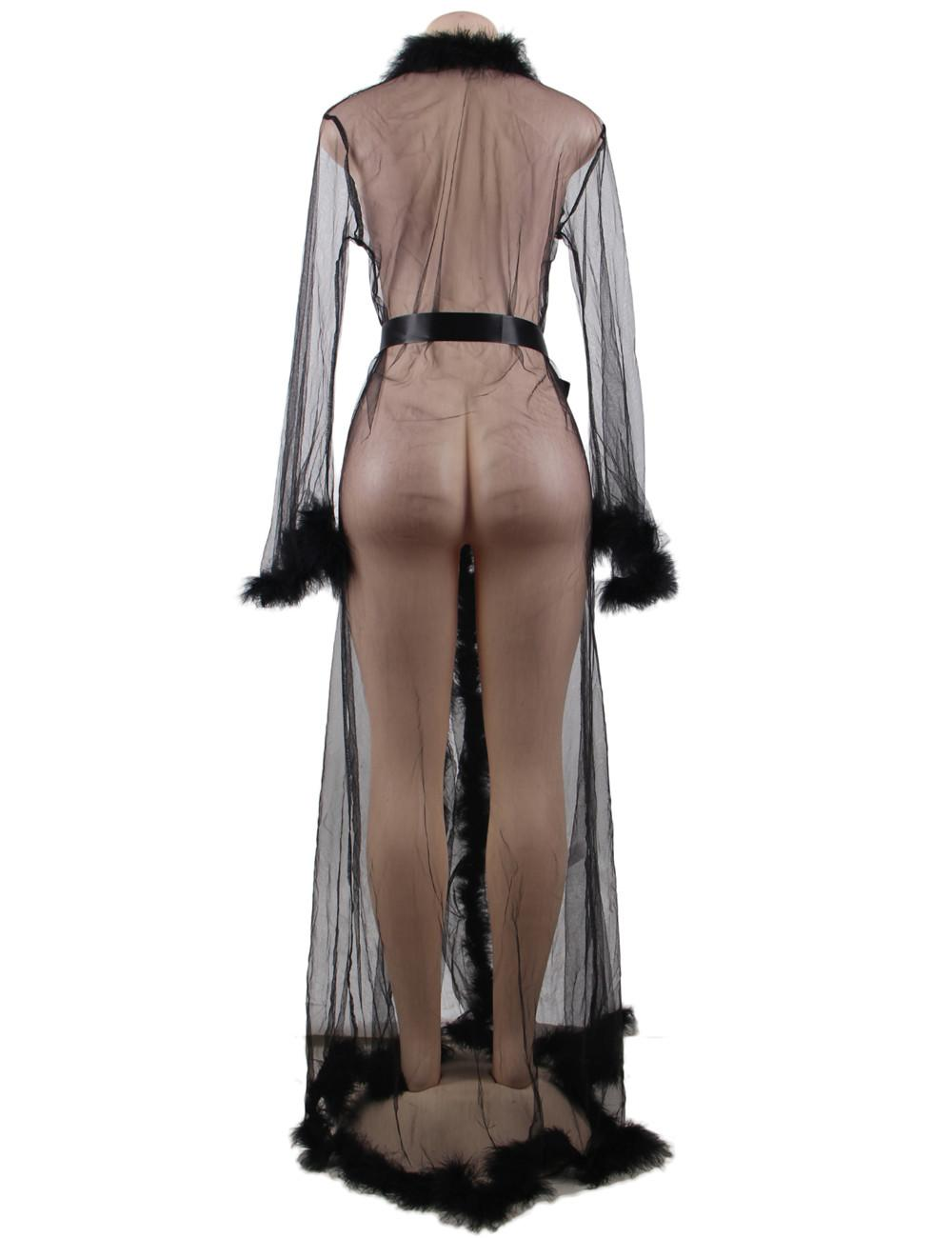 Black Fur Trimmed Long Robe rear view