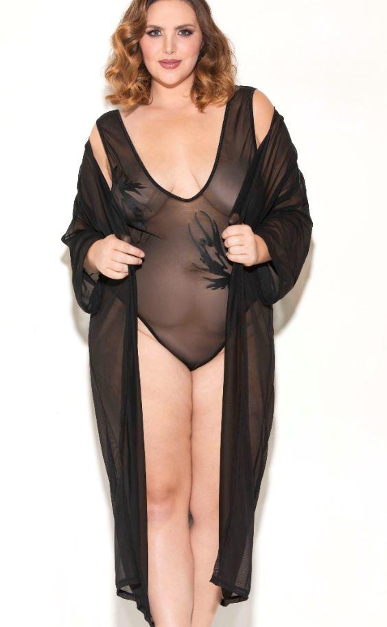 Silhouette Long Sleeve Mesh Robe