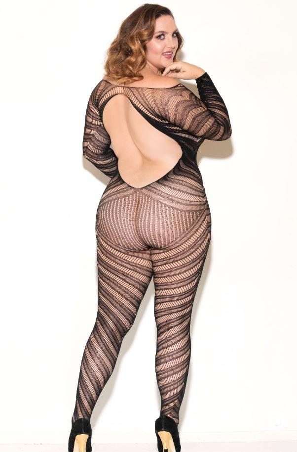Long sleeve Bodystocking rear view