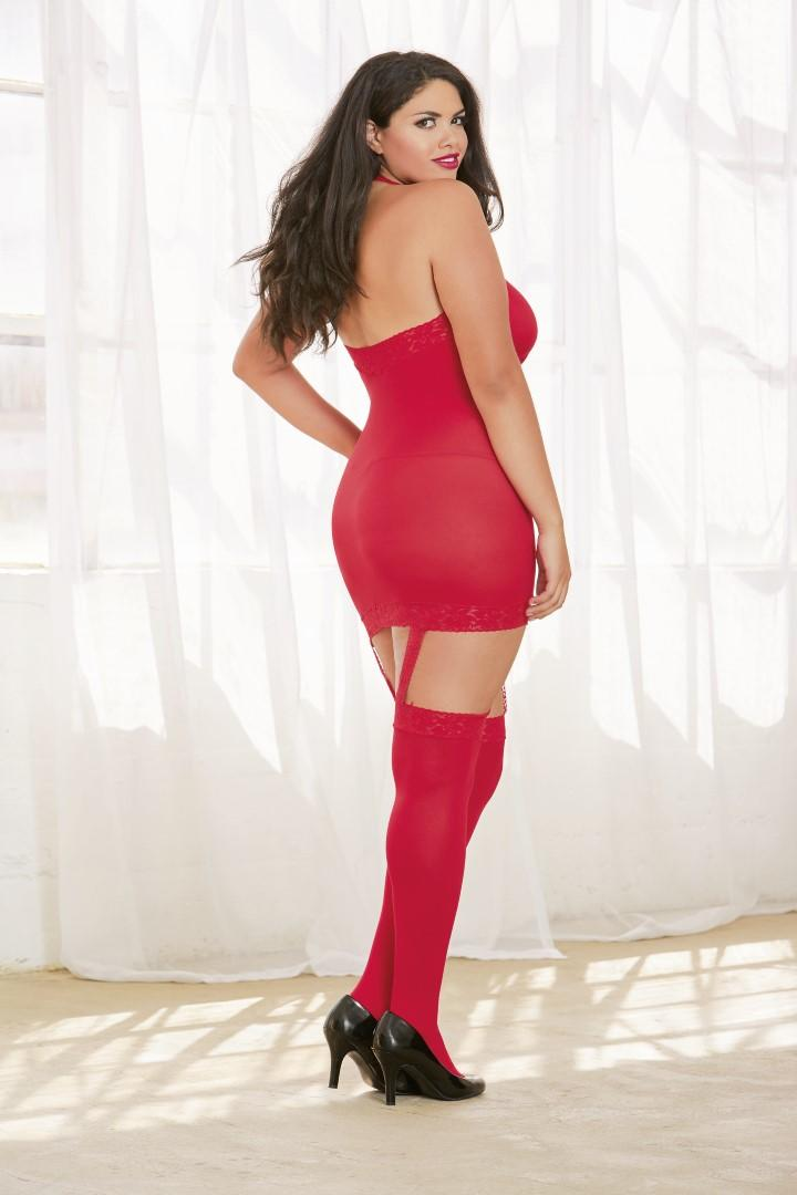 Red dress with garters & stockings
