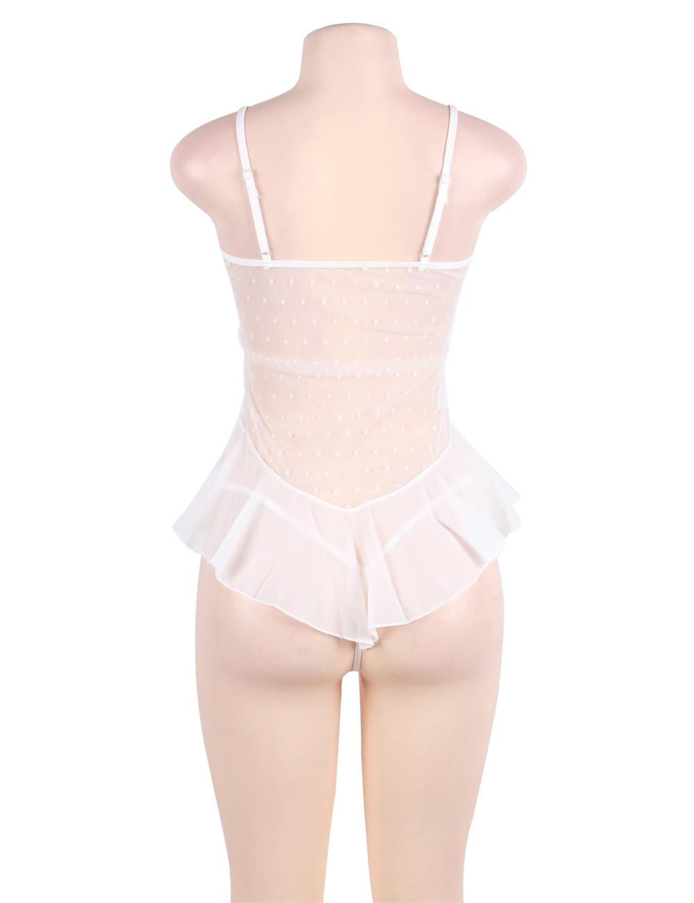 Rear view white flower lace babydoll