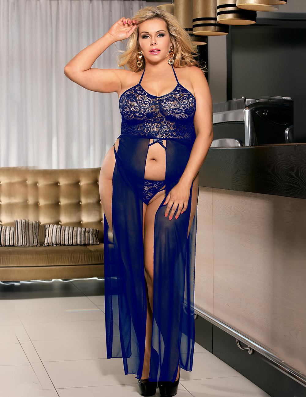 Blue front Elegant Sheer Lace Long Gown