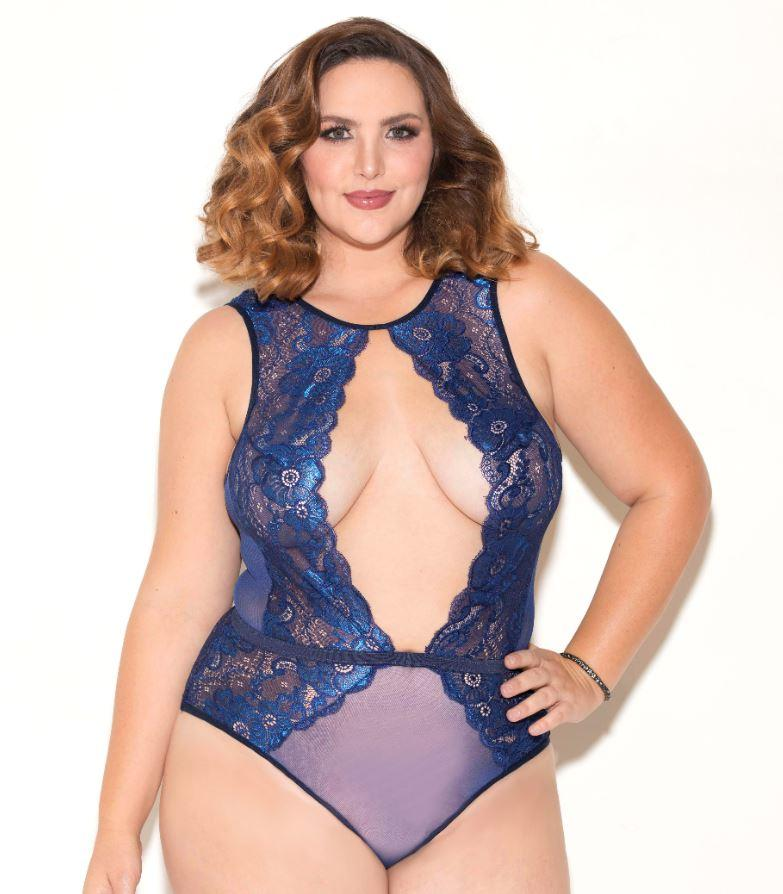 Blue Deep V halterneck lace Teddy