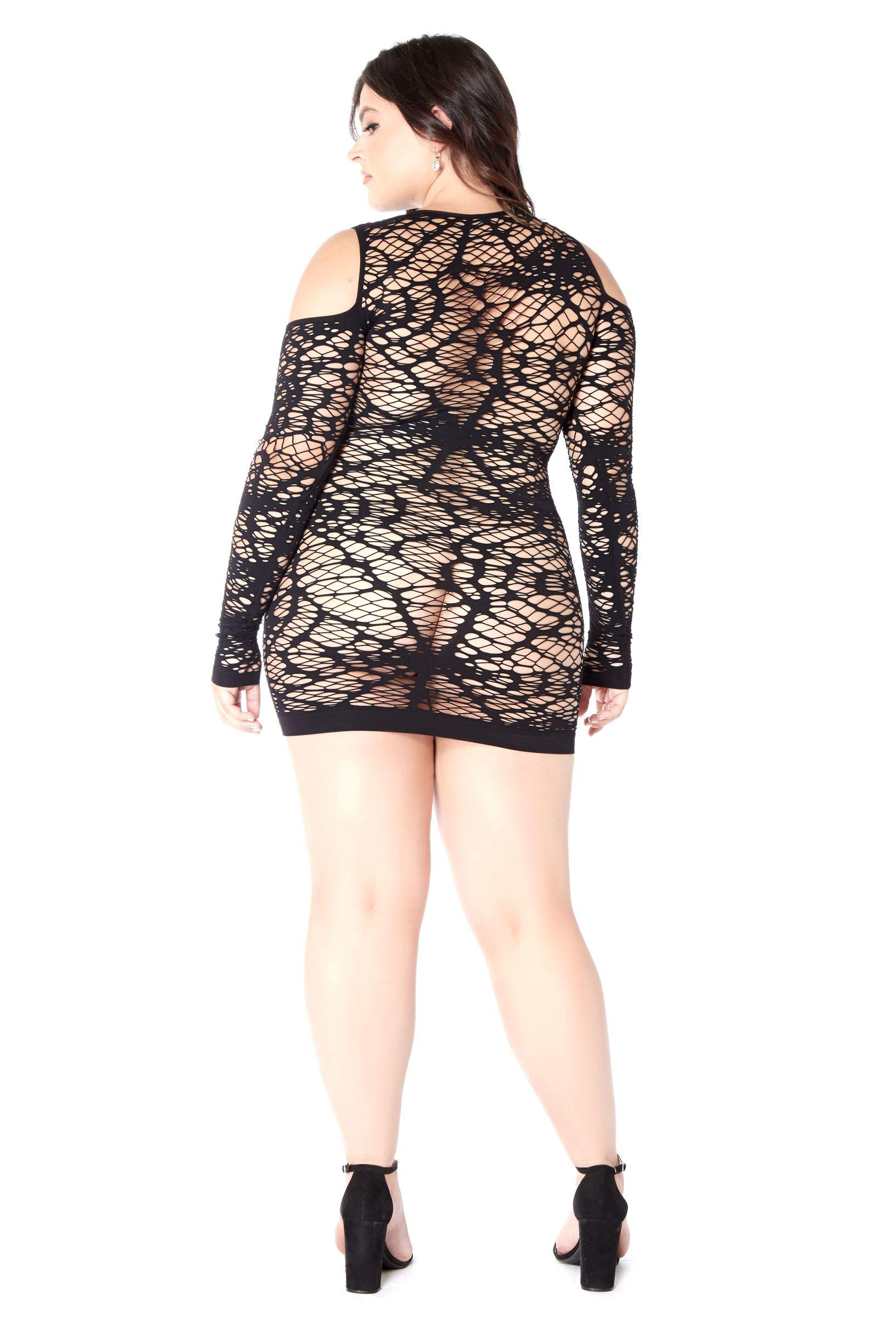 Black long sleeved chemise rear view