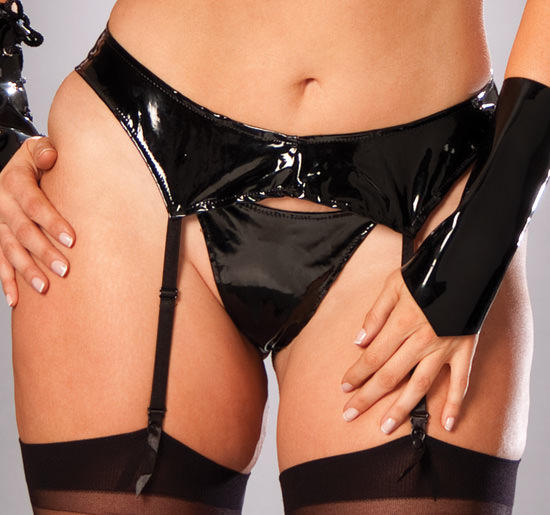 Plus size PVC Suspender Belt