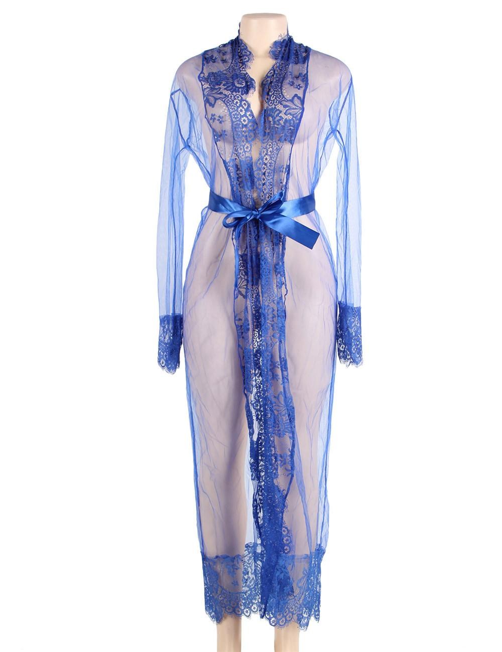 Blue sheer long gown