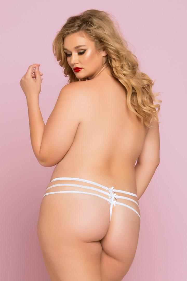 White Strappy Lace Thong rear view