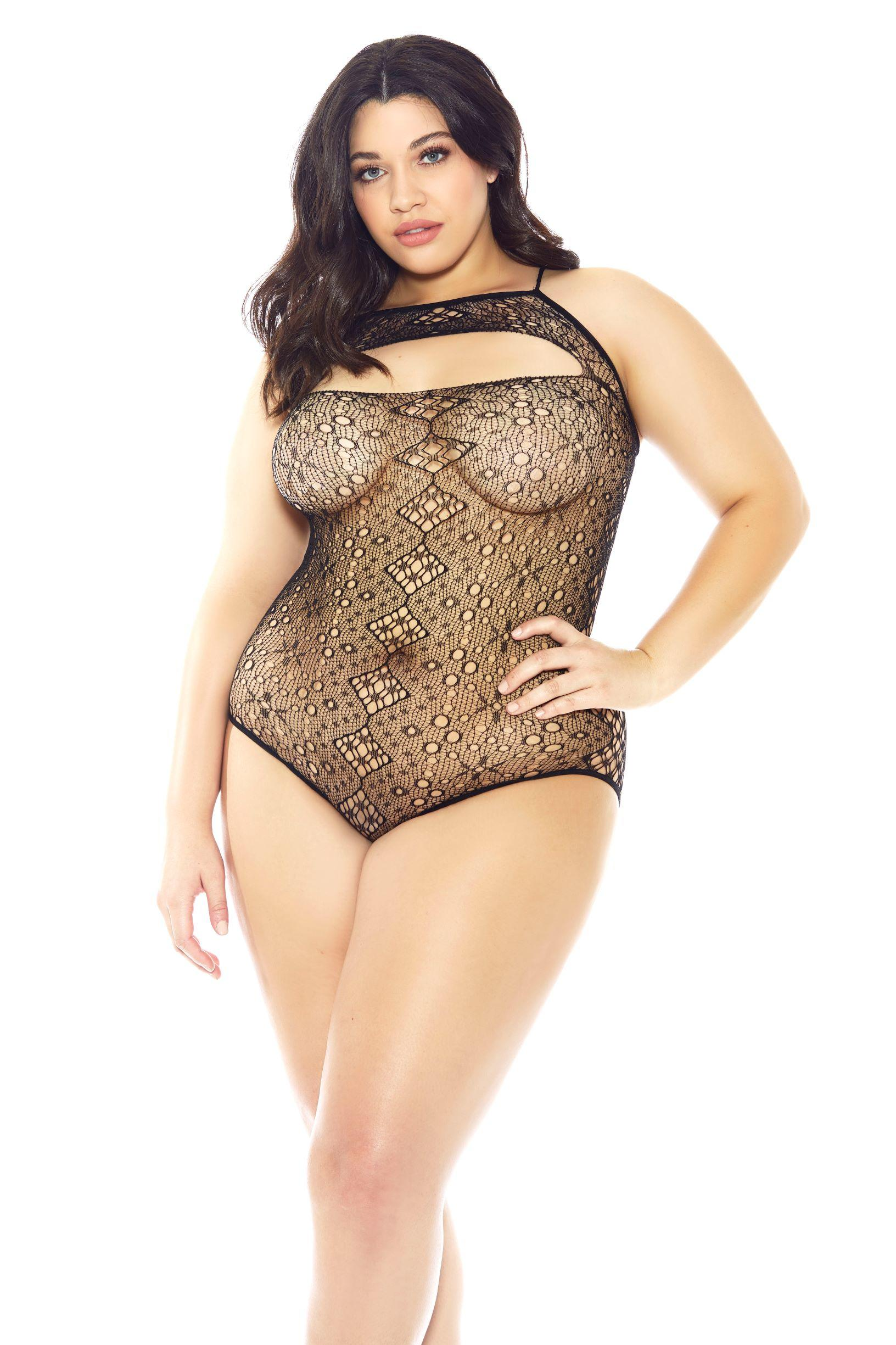 Patterned Lace Halterneck Teddy