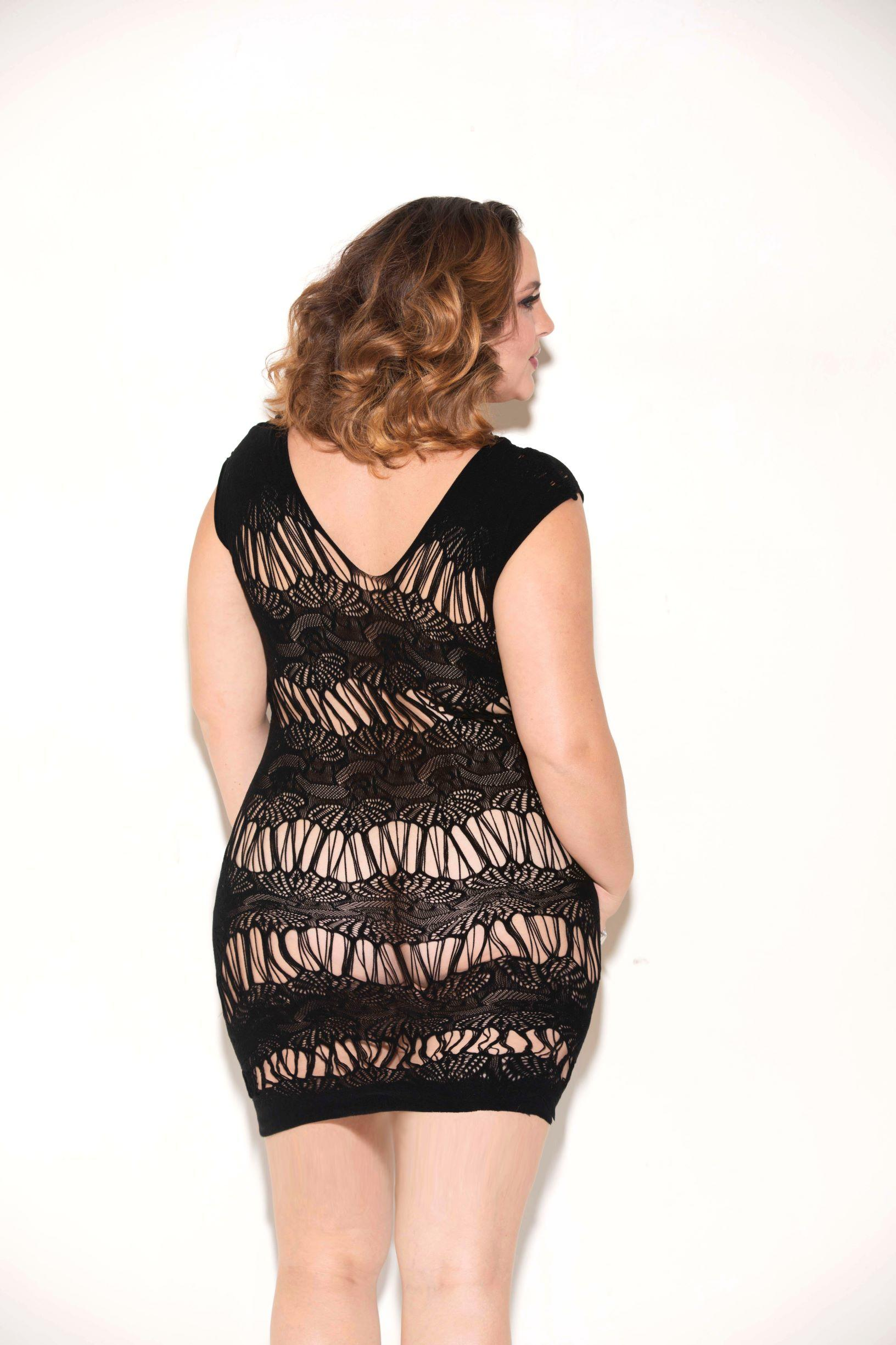 Black sleeveless chemise rear view