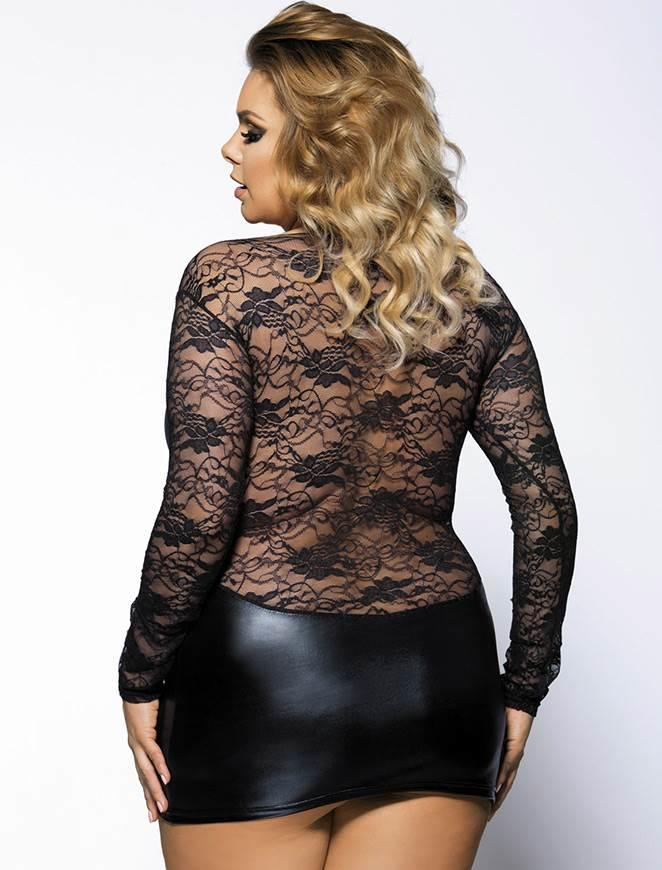 PVC & Lace Mini Dress rear view