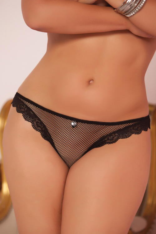 Black Fishnet & Lace Panty