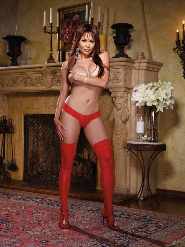 Red Sheer Hold Up Stockings with lace top