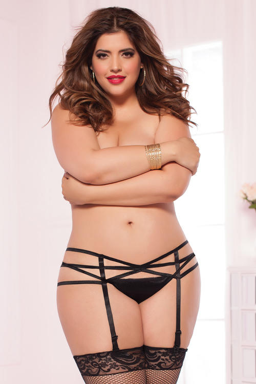Strappy Black Suspender Belt