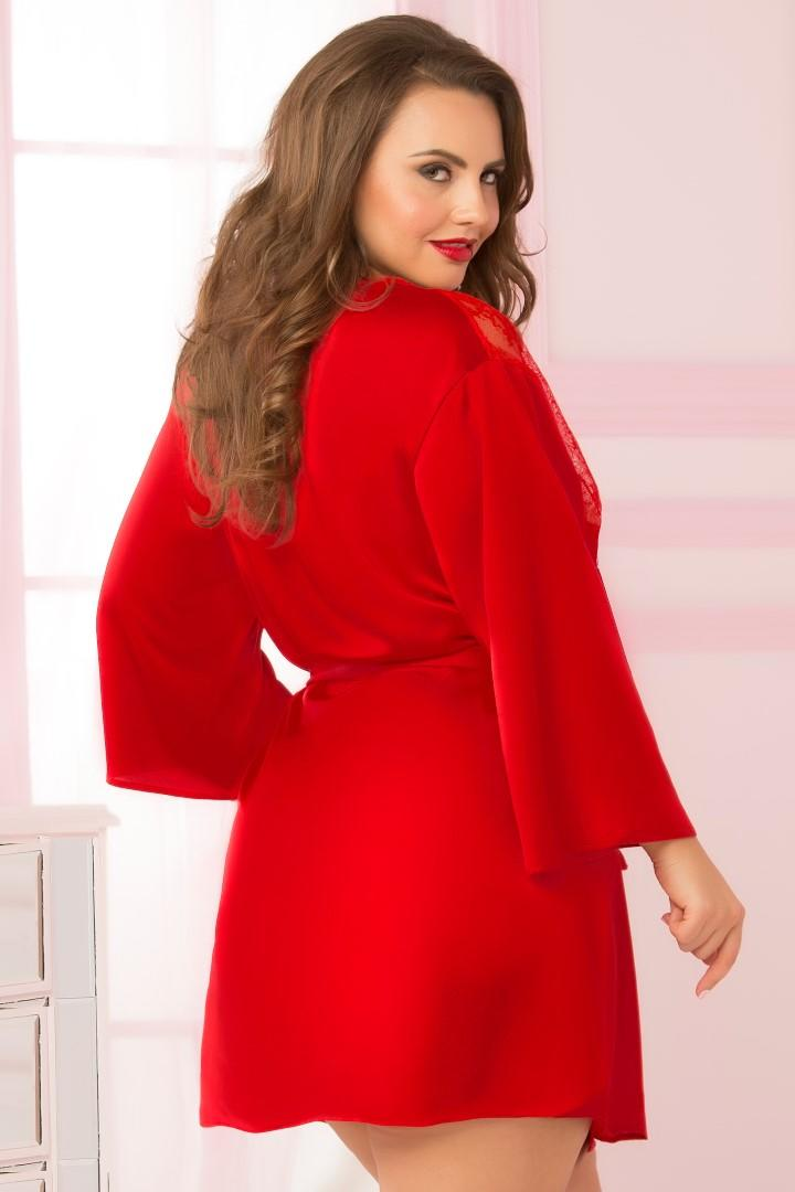 Red satin & lace robe