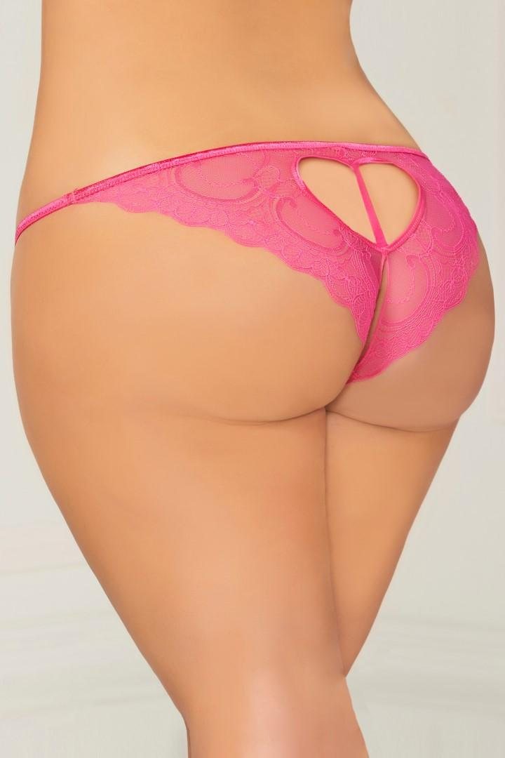 Pink open crotch panty
